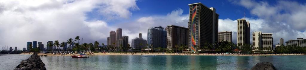 Waikiki Beach Panorama Near the Hilton Garden Village