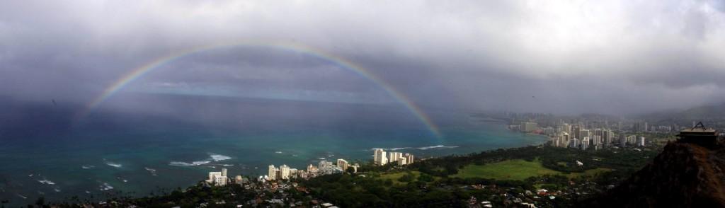Rainbow From atop diamond head O`ahu